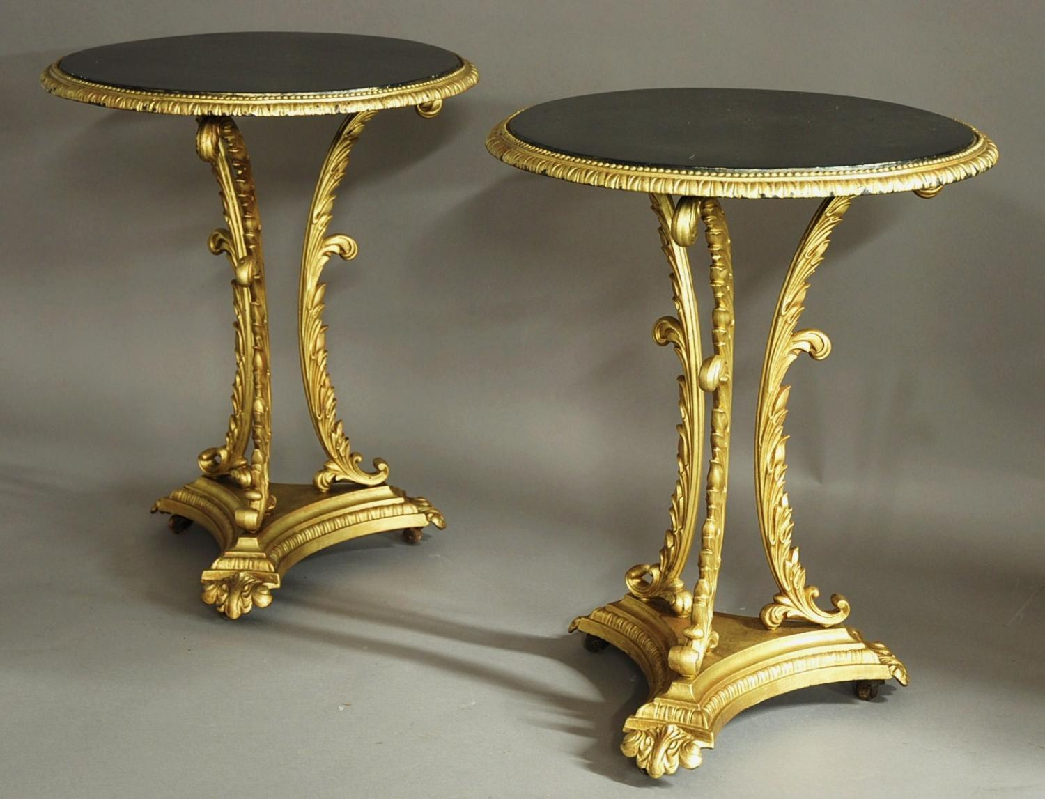 Pair of French decorative cast iron tables