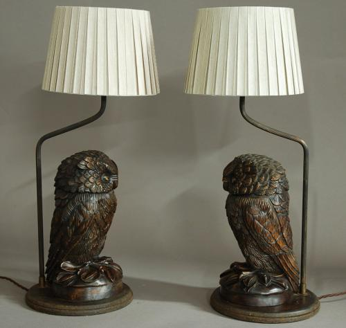 Superb pair of carved Black Forest owl lamps