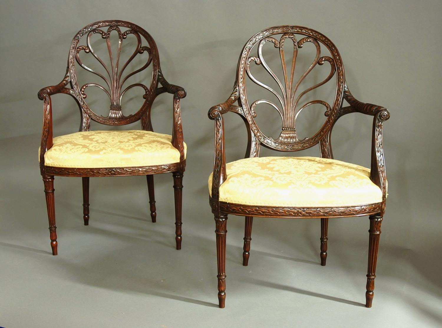 Superb pair of Adam style open armchairs