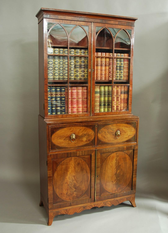 Hepplewhite mahogany secretaire bookcase