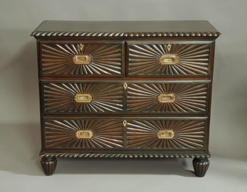 19thc Anglo Indian padouk chest of drawers