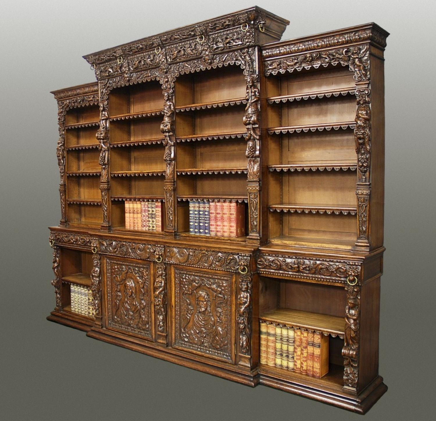 Exceptional 19thc oak breakfront bookcase