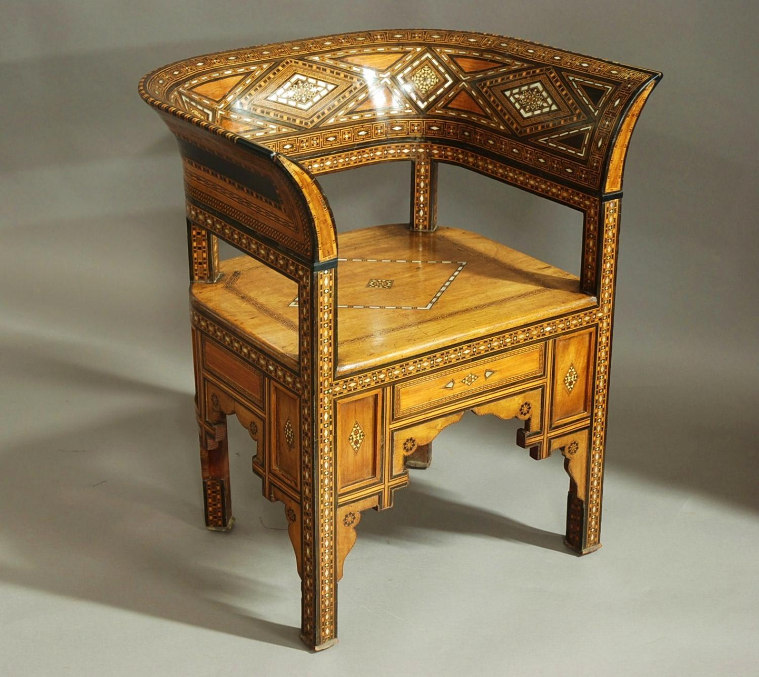 Late 19thc Middle Eastern Damascus armchair