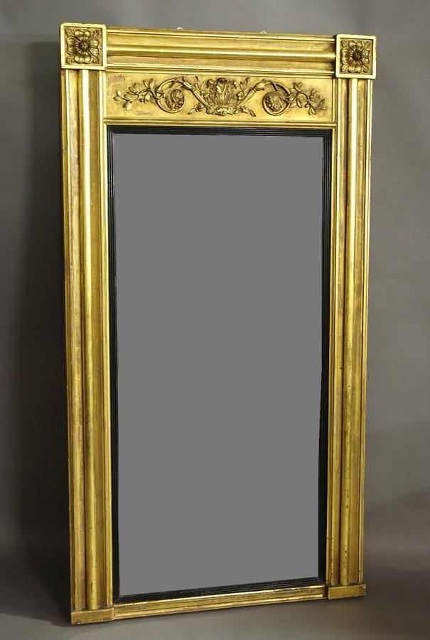 Large early 19thc Regency gilt pier mirror