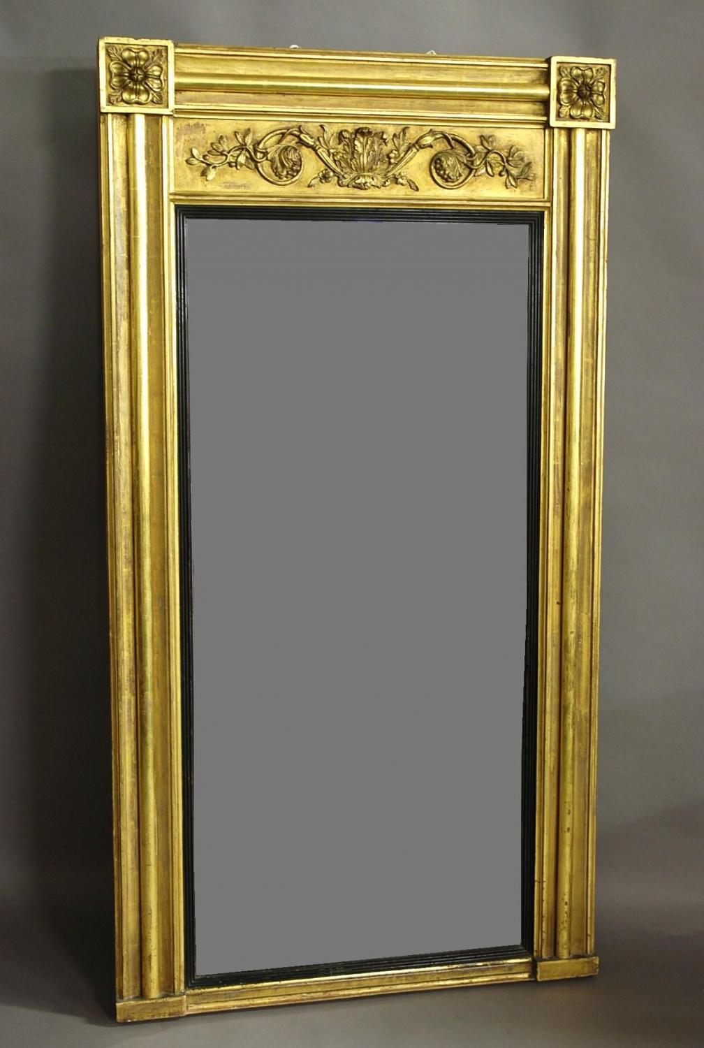 Large early 19thc Regency gilt pier mirror