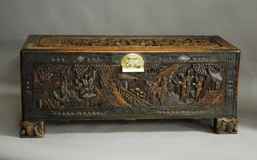 Large superbly carved Chinese camphor chest