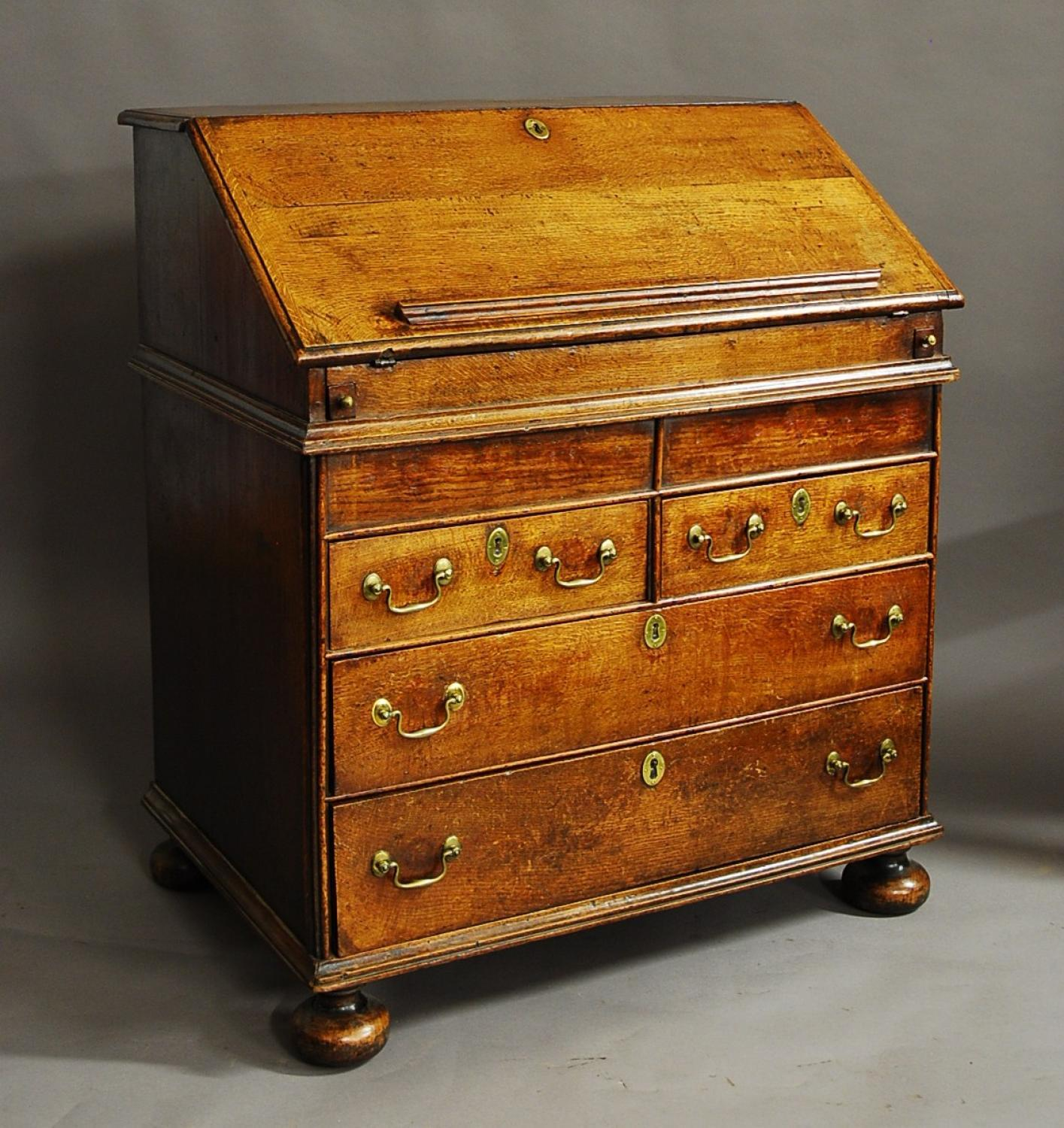 Rare William & Mary late 17thc oak bureau
