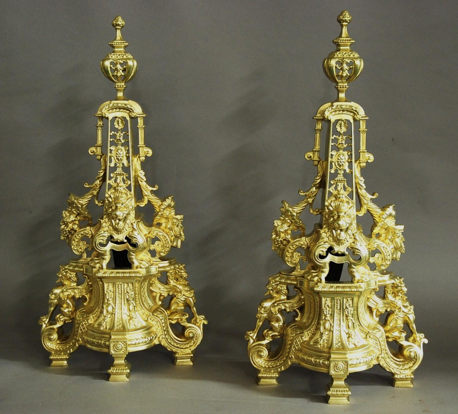 Extremely large pair of French 19thc chenets