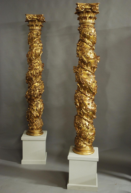 Large pair of Solomonic gilt wood columns