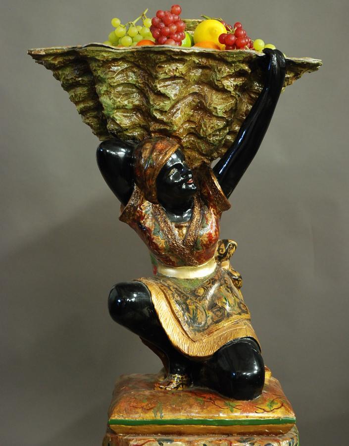 19thc Venetian polychrome Blackmoor figure