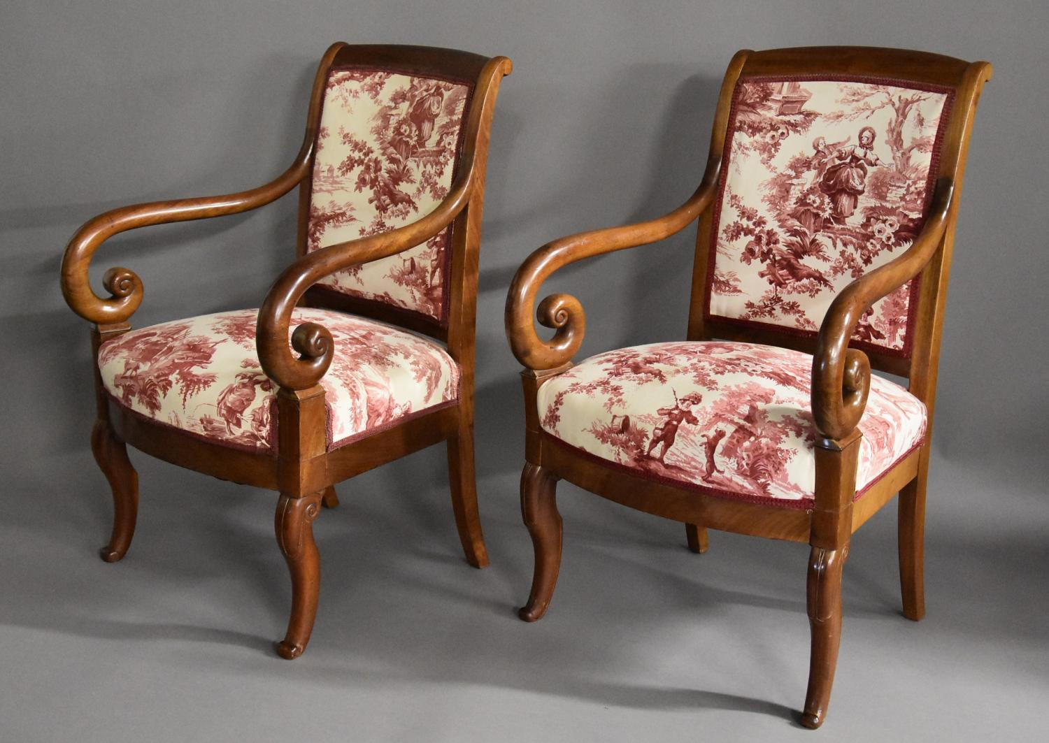 19thc matched pair French mahogany fauteuils
