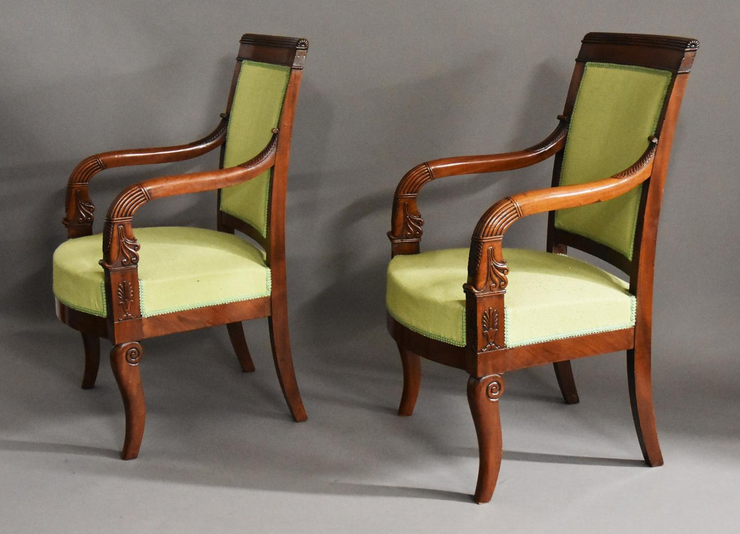 Superb pair of French Empire fauteuils