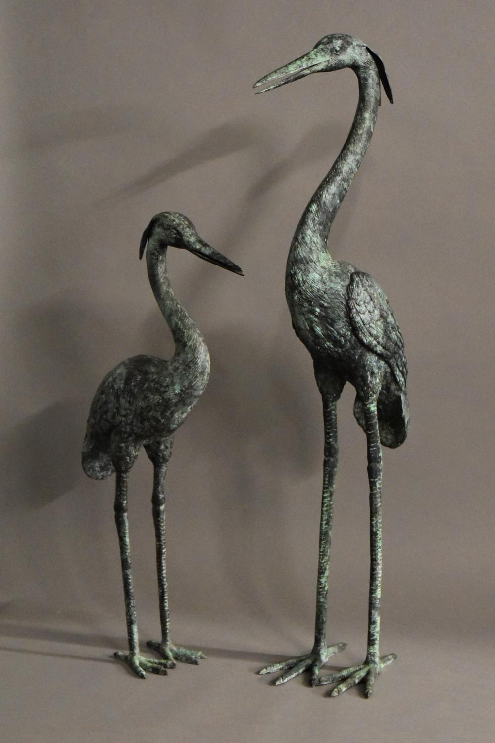 Pair of decorative bronze cranes