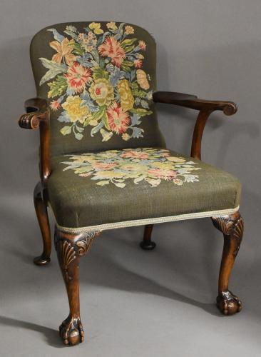 Georgian style mahogany open armchair