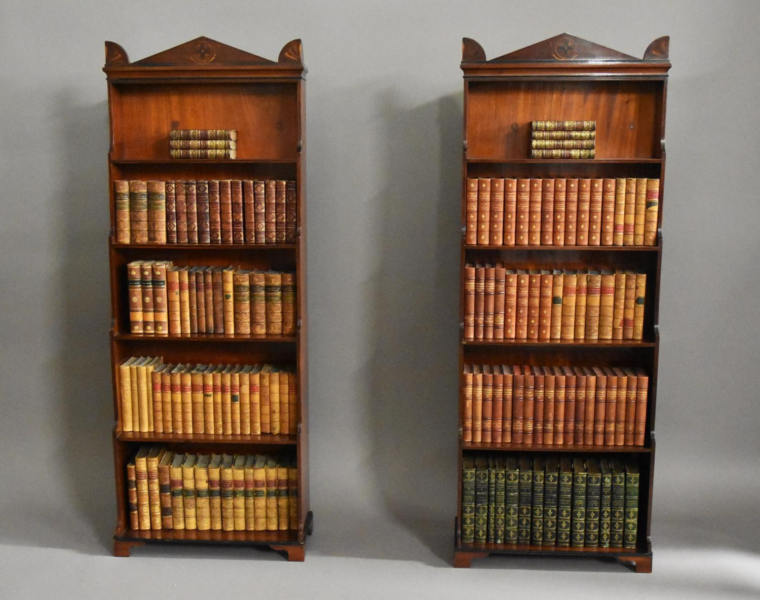Small pair of Regency waterfall bookcases