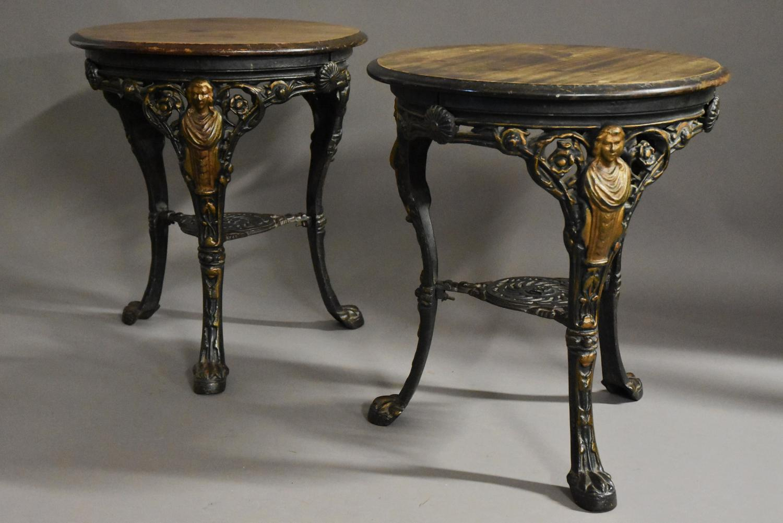 Pair of 19thc cast iron & mahogany pub tables