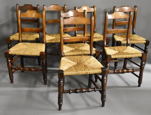 Late 19thc set of eight alder chairs