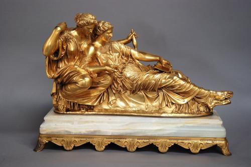 Large Barbedienne gilt bronze 'The Fates'