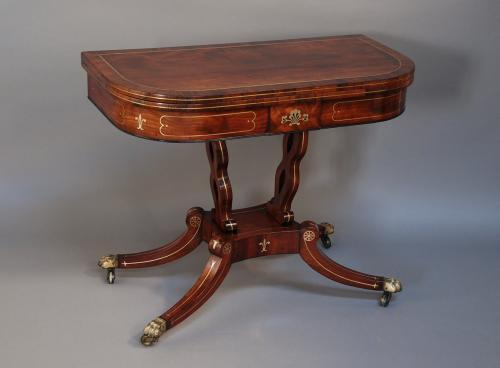 Regency mahogany & brass inlaid card table