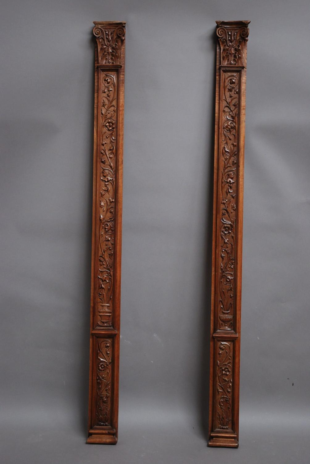 Pair of 19thc Continental carved pilasters