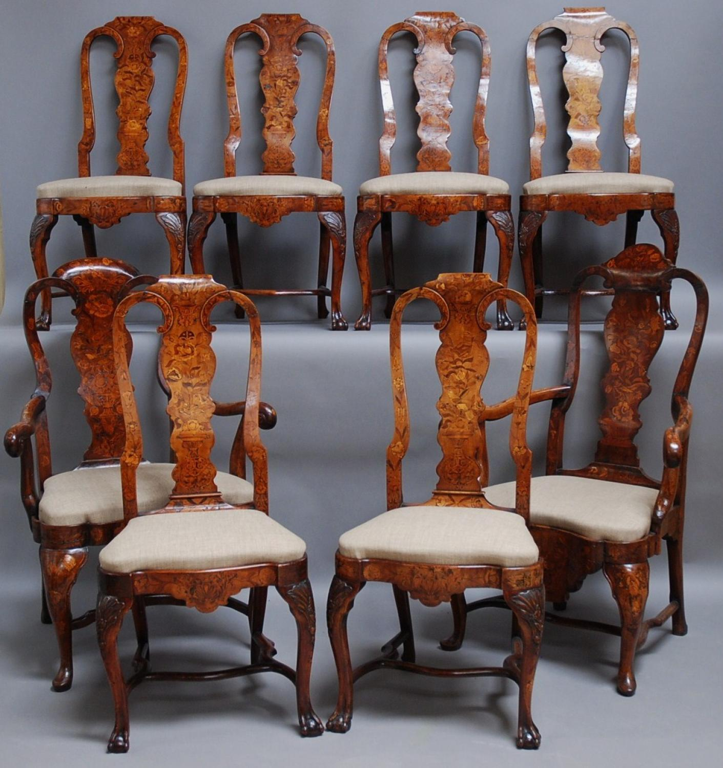 Matched set of 18thc Dutch marquetry chairs