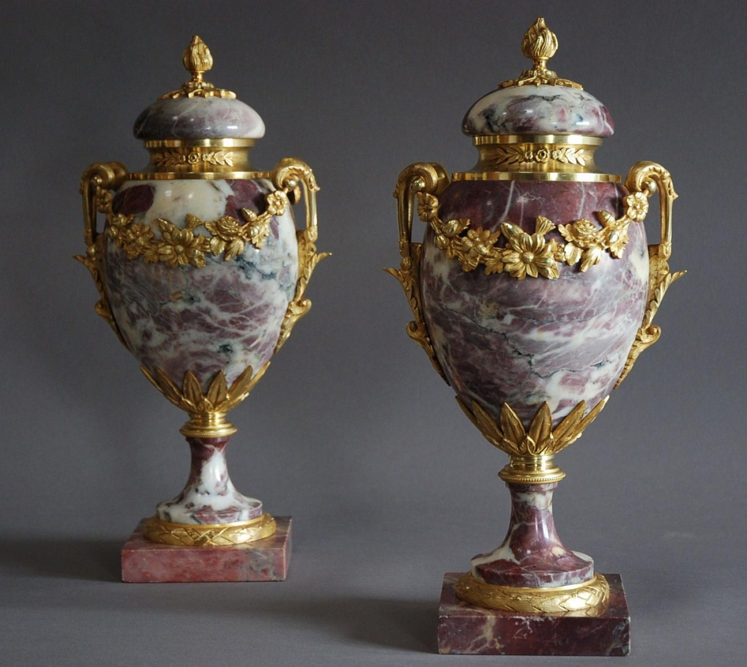 Superb pair of late 19thc marble & ormolu cassolettes
