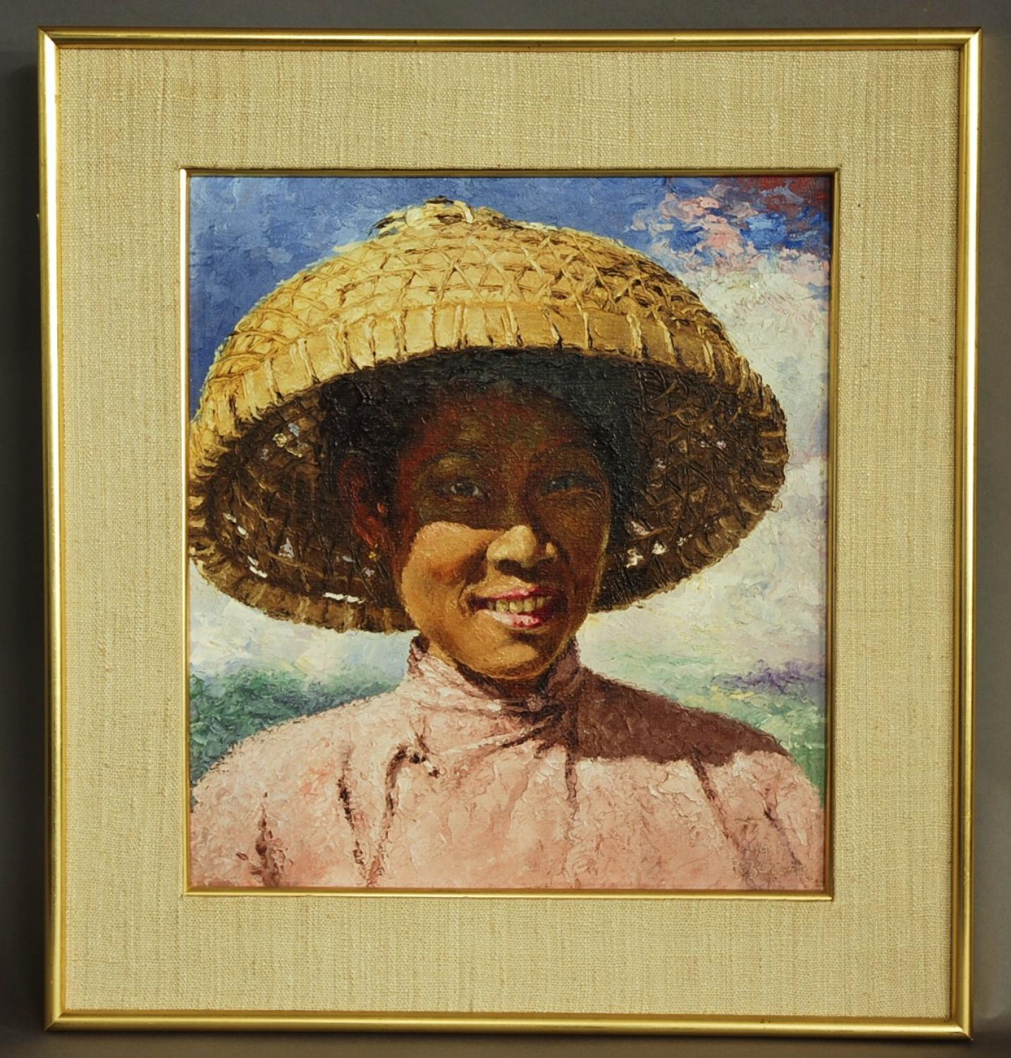 Oil painting of Chinese lady in bamboo hat