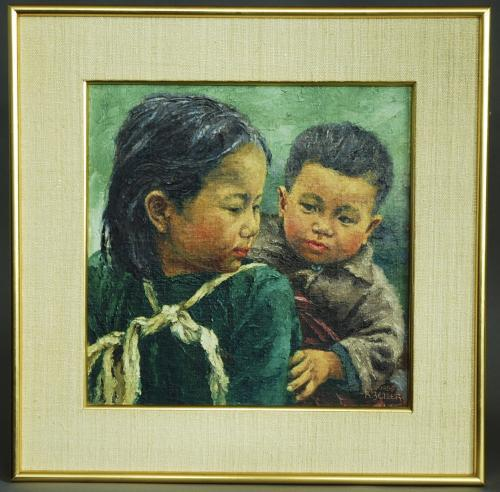 Oil painting of two Chinese children