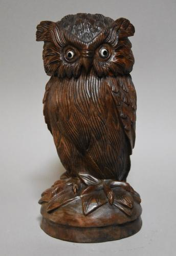 Black Forest carved jar of an owl
