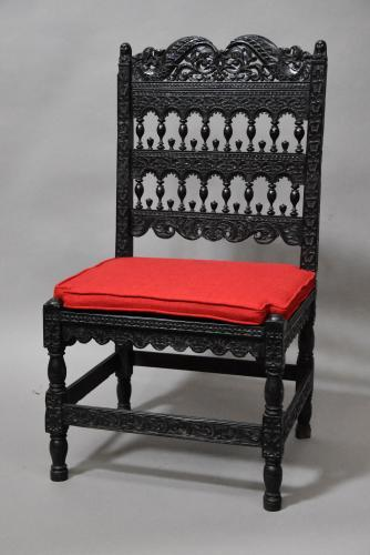 Superb quality late 17thc solid ebony chair