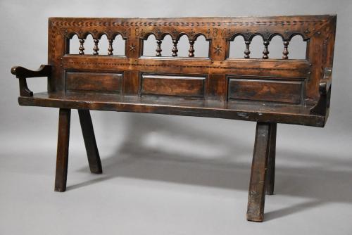 Breton walnut & elm bench of superb patina