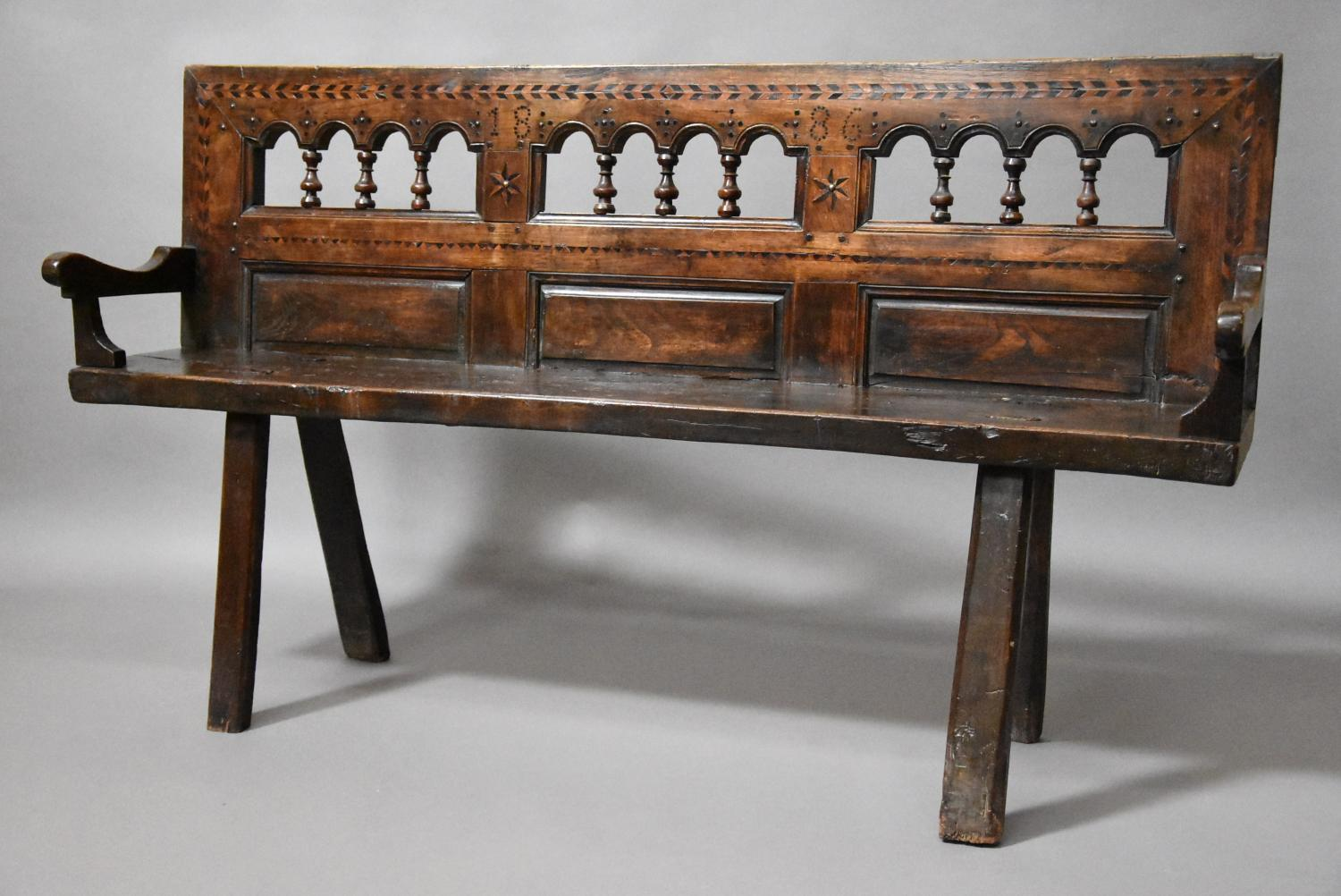 Breton walnut & elm bench of superb patina