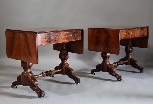 Superb pair of French mahogany sofa tables