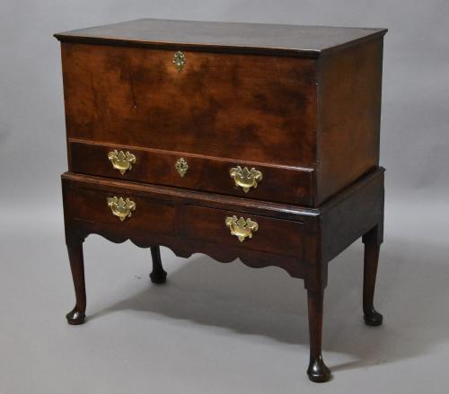 18th century oak chest on stand of fine patina