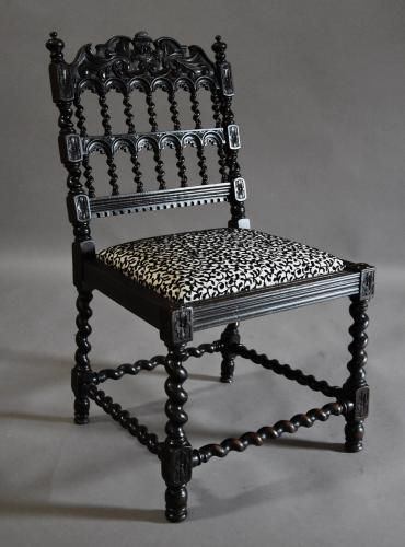 Late 19th century ebonised chair