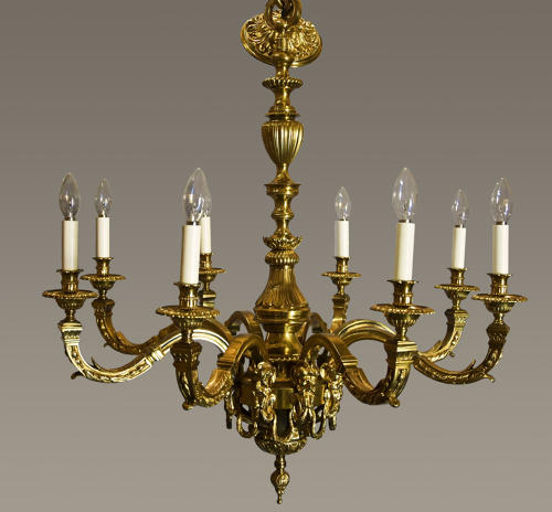 Superb Louis XIV style gilt metal chandelier