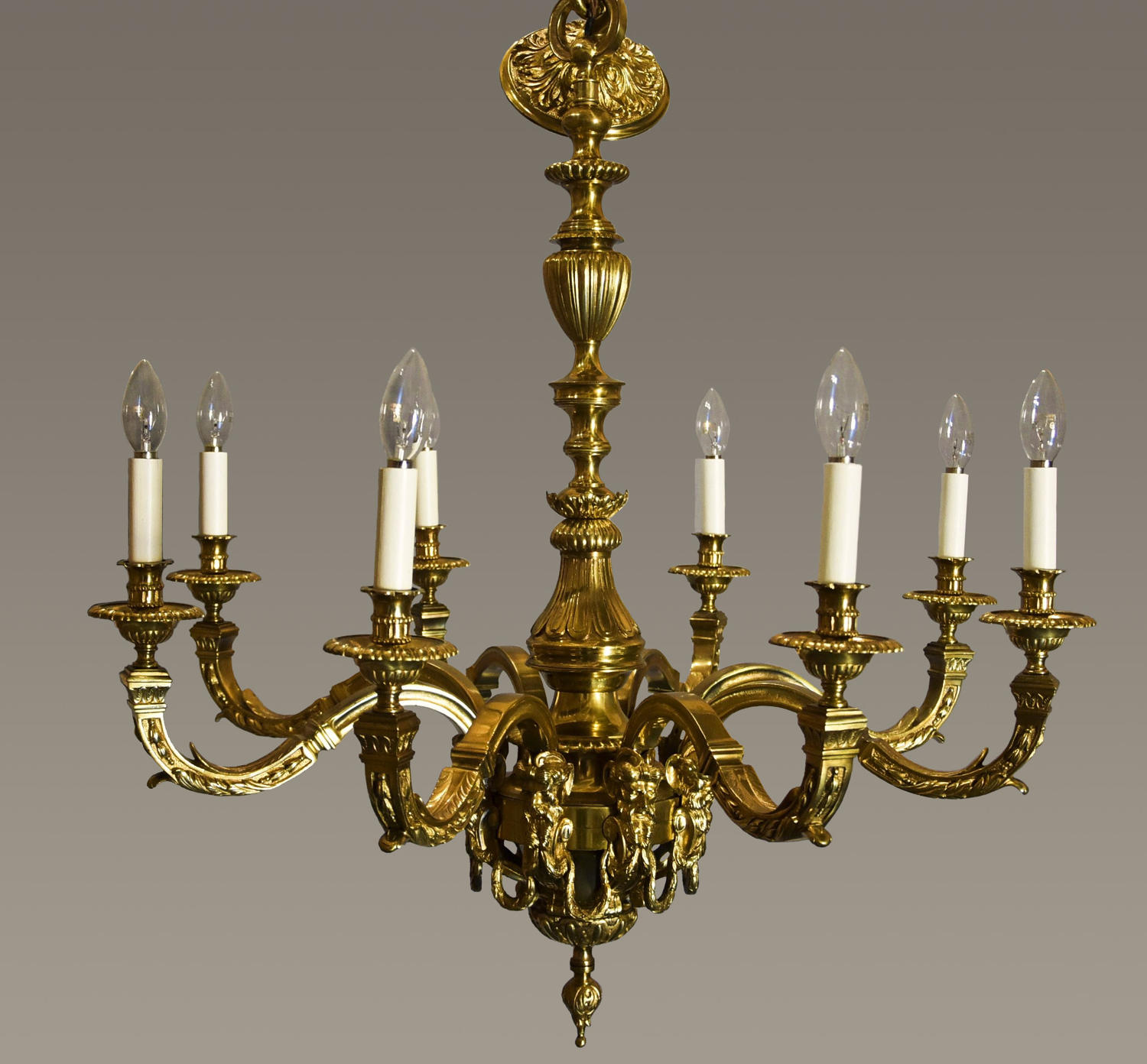 French Louis XIV Style Gilt Bronze 12 Light Chandelier