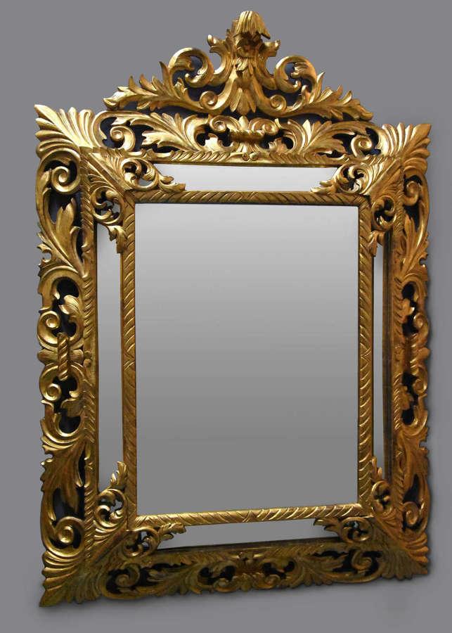Large 19thc Italian giltwood cushion mirror