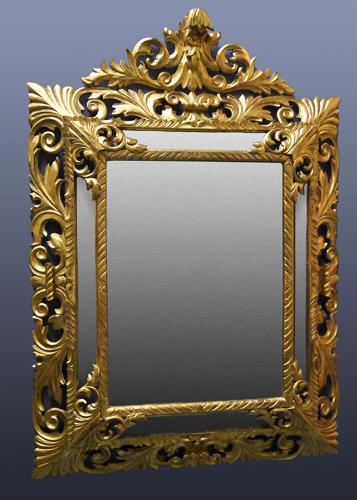 Large 19thc Italian giltwood cushion mirror