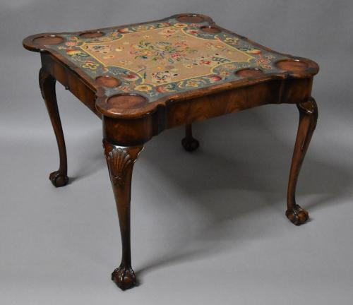 Queen Anne style walnut card/games table