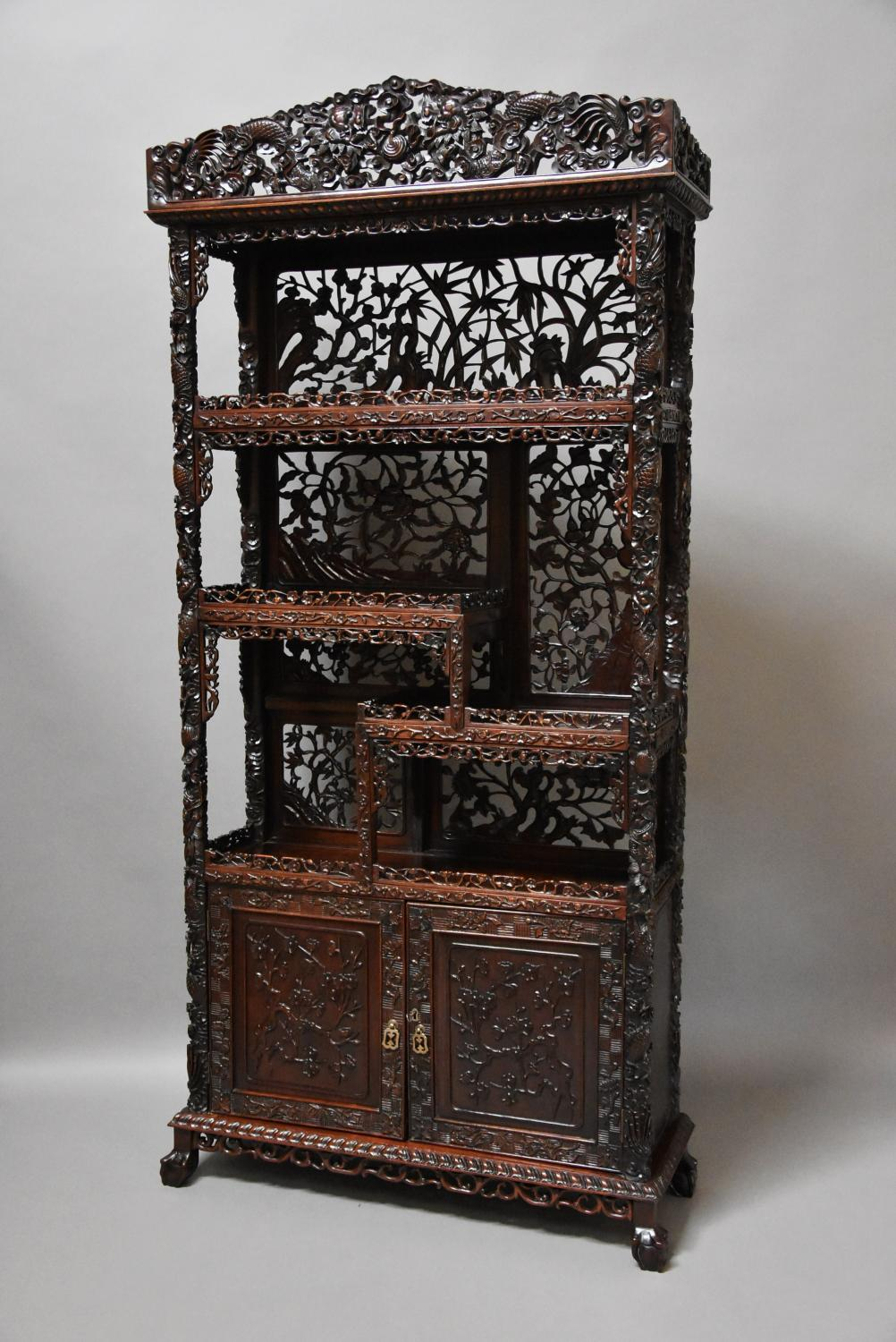 Superb Chinese carved padouk display cabinet