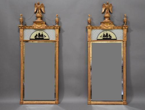 Superb pair of Regency style giltwood mirrors