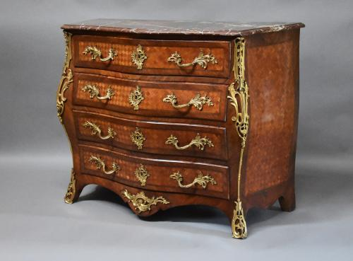 French 19thc Kingwood serpentine commode