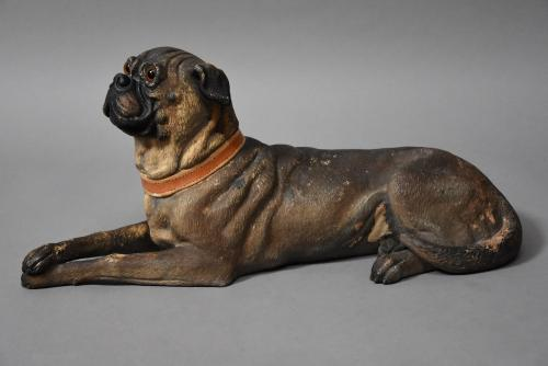 19thc Austrian Reclining Terracotta Pug Dog In Sold Archive