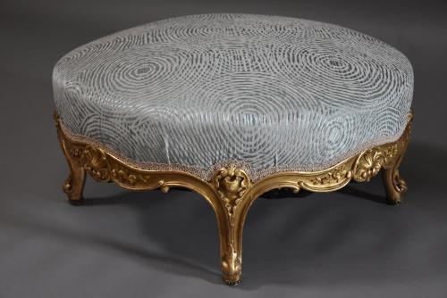 Large 19th century French giltwood footstool