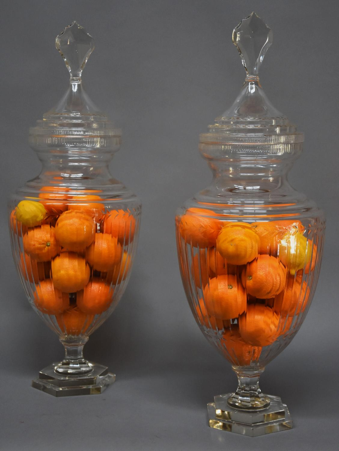 Large pair of Edwardian cut glass lidded jars