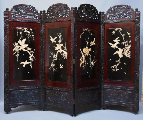Large Meiji period Japanese four-fold screen