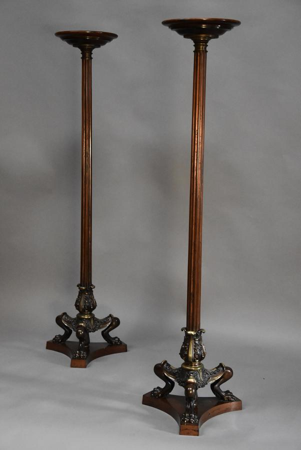 Pair of Regency style bronze torcheres