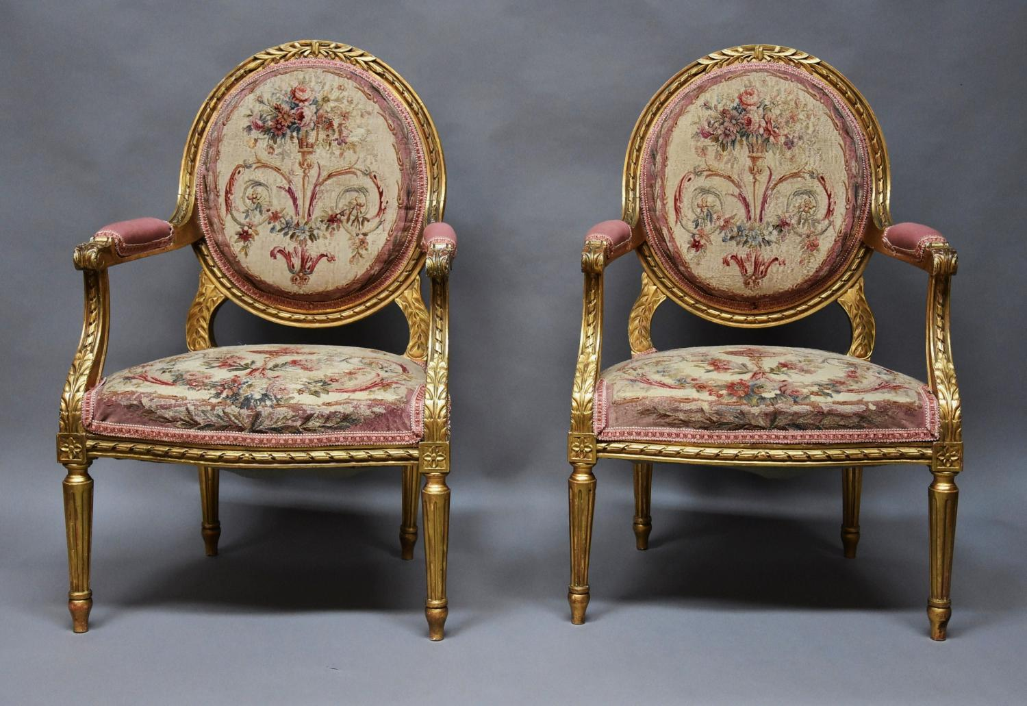 French gilt armchairs with Aubusson tapestry