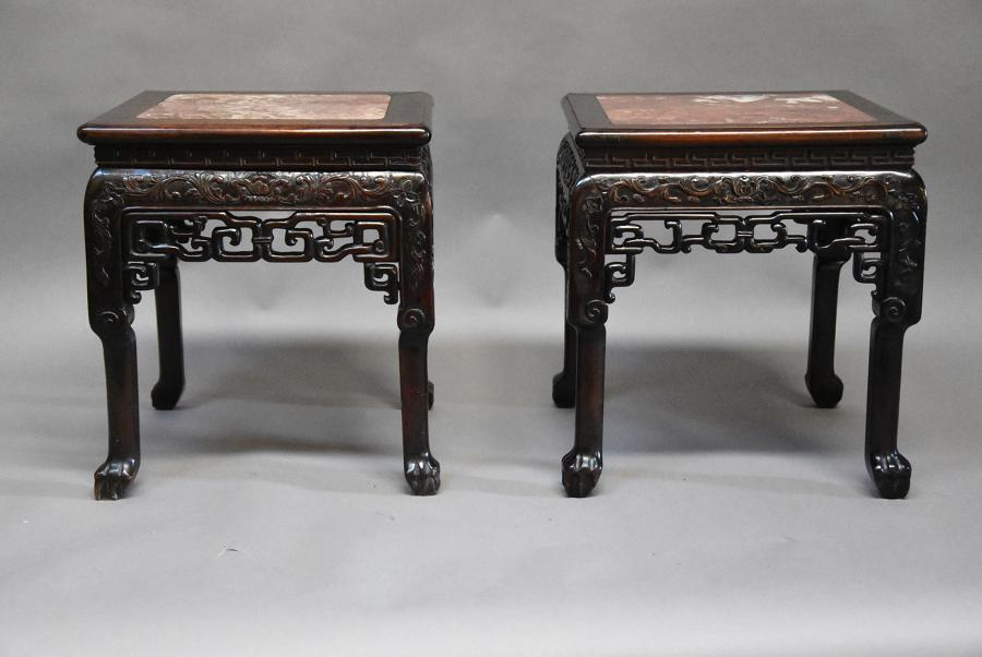 Late 19thc matched pair of Chinese pot stands